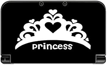 Princess Crown White Tiara Black Background Vinyl Decal Sticker Skin by Moonlight Printing for New 3DS XL 2015