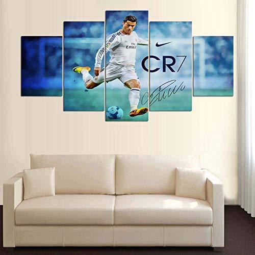 BOYH 5 Panneaux Impressions sur Toile Cristiano Ronaldo Affiche de Match de Football Intense HD Moderne Art Mural Accueil Décorations,B,30×50×2+30×70×2+30×80×1