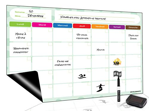 Tableau Blanc magnétique, Planning hebdomadaire magnétique Flexible effaçable à Sec Tableau Notes mémo aimanté pour Frigo Repas Familiaux (42 x 30 cm)