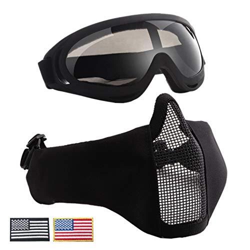 Coxeer Airsoft Maske und Schutzbrille Set Gehörschutz Spielmaske Fahrradbrille & Abzeichen