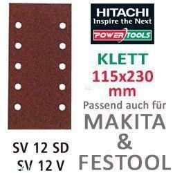 Hitachi–753061Schleifpapier Blatt für Schwingschleifer 115x 230mm Körnung 40mit Klettverschluss (10)
