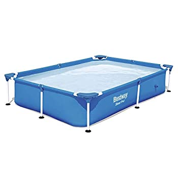 Bestway 56545E Steel Pro 7.25 x 4.9 x 1.4 Ft Outdoor Rectangular Frame Above Ground Family Kids Swimming Pool with Easy Setup Blue