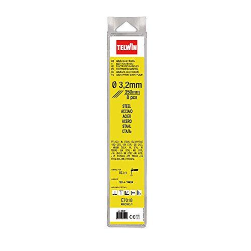 Telwin 802622 Elettrodi Basici per Saldatura D. 3.2 mm 8 Pz, 0.1 V, Grigio, 3.2 blister, Set di 8 Pezzi