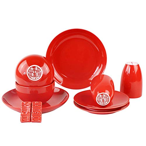 CLLX 10 piezas de vajilla de cerámica roja, vajilla de porcelana de belleza oriental de estilo chino, adecuada para regalos de boda