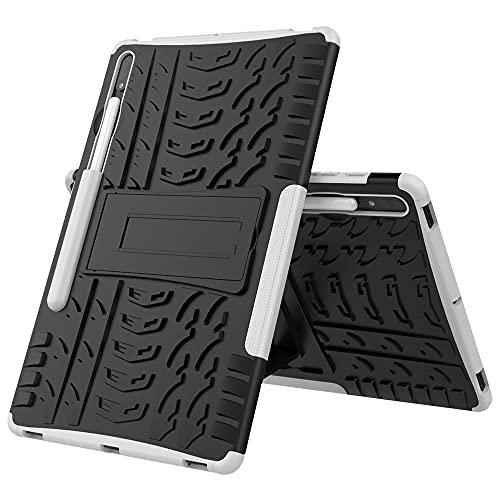 JIAHENG Caja de la Tableta Cubierta de la Tableta para Samsung Galaxy Tab S7 Plus Neumático Textura TPU a Prueba de Golpes TPU + PC Funda Protectora con Soporte de Mango Plegable PU de Cuero d