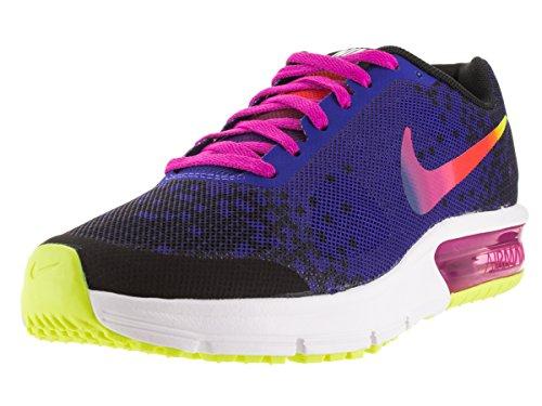 Nike Damen Air Max Sequent Print (GS) Fitnessschuhe, Schwarz Rosa Grün Schwarz Deep Night Fire Pink VLT, 38 EU