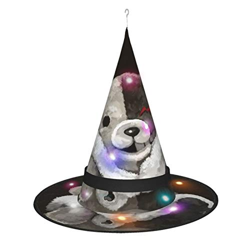 New Halloween Party Hats Witch Masquerade Party Cosplay Large Black Mono-Kuma Bear Lighted Witch Hat 7 Pcs