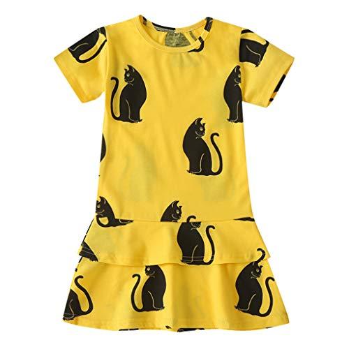 Cover Tank-Kleid Mädchen Kleider mit Katze Drucken Rundhals Kleid Kurzarmkleid Sommerkleid