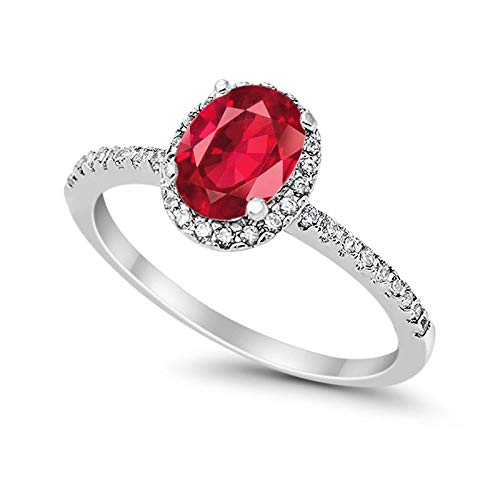 Blue Apple Co. Halo Fashion Ring Oval Simulated Ruby Round CZ Accent 925 Sterling Silver, Size-5