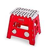 Sgabello / Scalino Pieghevole Genio Domus Stile, bianco e rosso in plastica, H32 cm