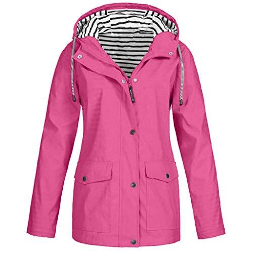 iHENGH Damen Frauen Feste Regenjacke im Freien Plus Größe wasserdichter mit Kapuze Regenmantel Winddicht(Pink, 2XL)