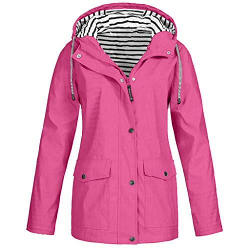 iHAZA Women Rain Jacket Outdoor Plus Waterproof Hooded Raincoat Windproof Coat Outerwear Hot Pink