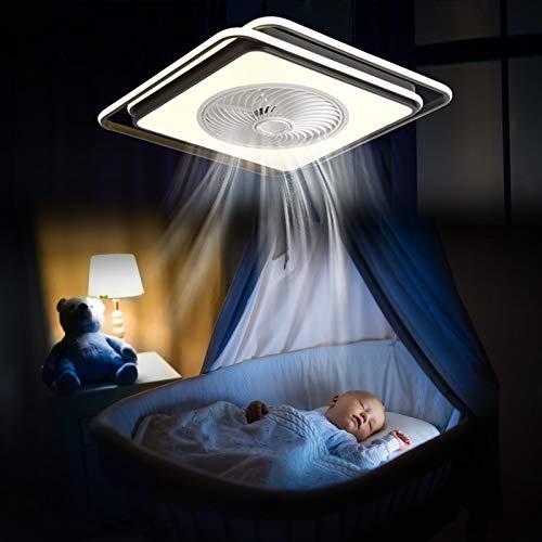 Ventilador de techo de 58 cm con iluminación y mando a distancia, 45 W, cuadrado, ventilador de techo sin hojas con luces LED, 3 colores cambiantes, blanco y negro