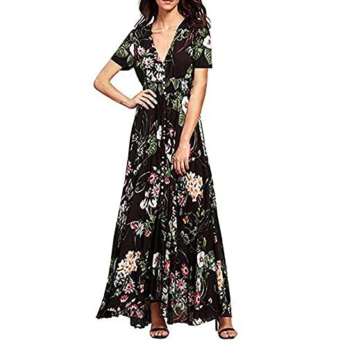 FUNWAVE Vestido largo de gasa para mujer, estilo bohemio, con cuello en V, con botones y flores, para fiesta, playa, para mujer, Manga corta, negro, S