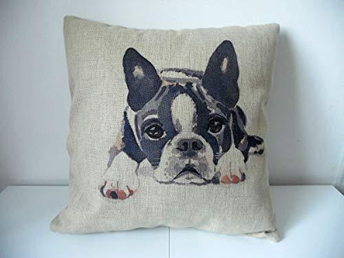 Decorbox Cotton Linen Square Decorative Throw Pillow Case Cushion Cover Cute Dog 18' x 18'