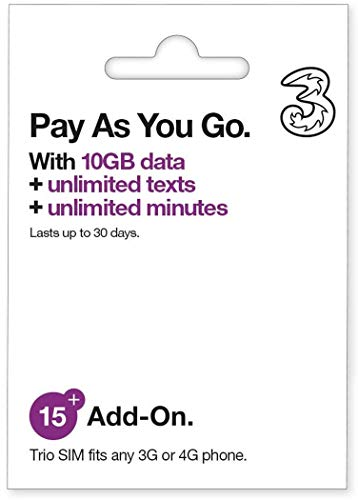 Three UK All-in-one 15+ PAYG Trio SIM Card -Unlimited Texts & Minutes...