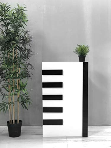 Mesa de Oficina Mostradores para Tiendas o Recepción Mueble Blanco con Rayas Negras Teclas de Piano