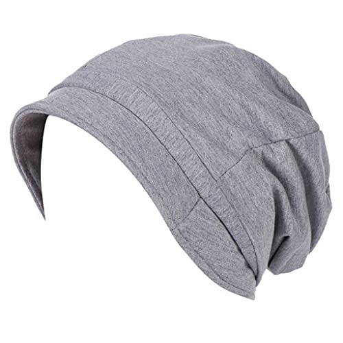 Women Chemo Beanie Turban Wrap Cap Ruched Ruffle Pretty Solid Visor Hat Light Breathable Head Covers