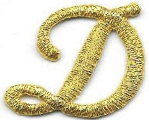 Embroidered Iron On Sew On Patch Fancy Metallic Gold Script Cursive Alphabet Letter D Great Quality Applique, 1' x 1 1/8'