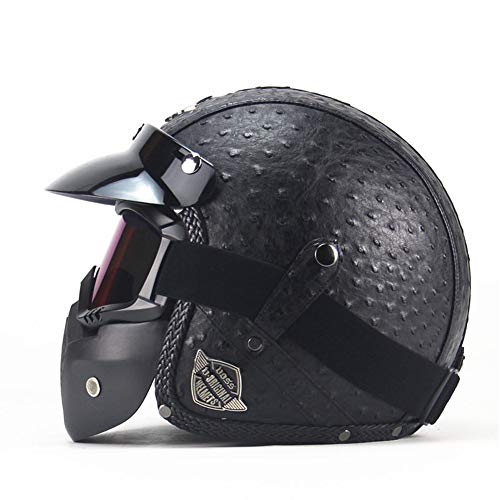 Parcclle Motorrad Leder Halbschale Jethelm, Roller Jet Bobber Helm Pilot Cruiser Vintage Moped Chopper Helm Biker Retro