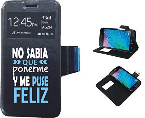 Xiaomi Mi5s Plus - Funda de Libro Flip con Tapa Ventana Color Negro Dibujo Frase, Ref:fn16