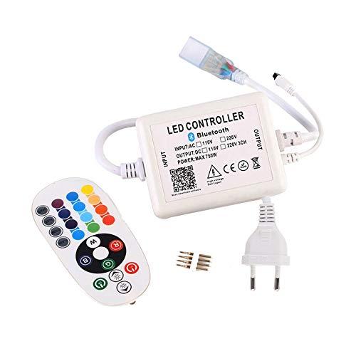 GreenSun Contrôleur Bluetooth pour bande led, avec télécommande à 24 touches, control remoto de 220V, Contrôle para 5050 RGB bande LED