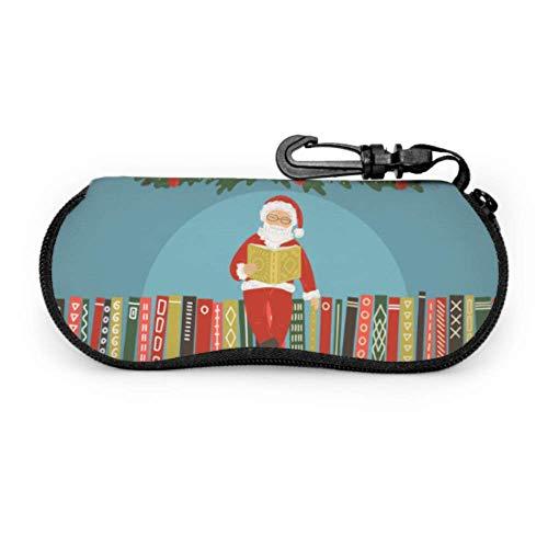 Santa Claus Reading Book Best Glasses Case Case Sunglasses Light Portable Neoprene Zipper Soft Case Sunglass Eyeglass Case