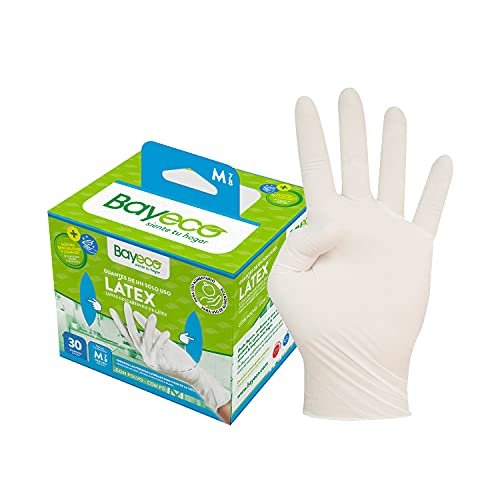 Bayeco - Guantes de un solo uso de Látex - Color Blanco - Ambidiestros - Aptos para el contacto con alimentos - Máxima sensibilidad - Pack dispensador de 30 unidades - Talla M