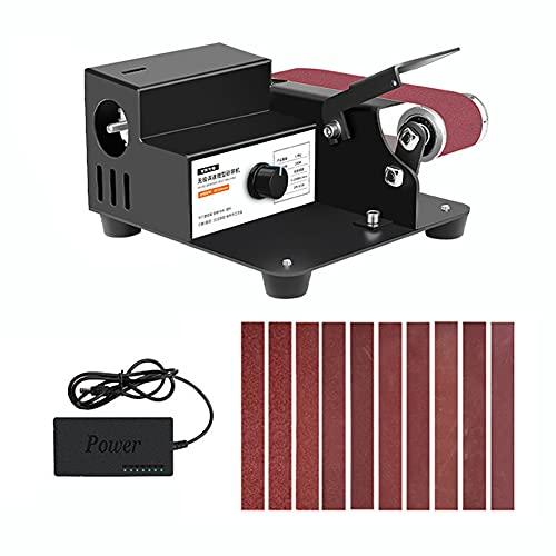 KKmoon Mini lijadora de banda, 250 W, lijadora de bordes, control de velocidad sin niveles, eliminación de óxido de metal, pulido Bodhi de bordes de corte