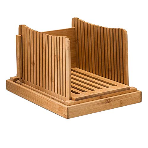 dailymall Cortadora de Pan de Bambú con Tabla de Cortar para Pan Casero, Ajustable, Plegable para Cortar Pan/Pasteles/Cortadora de Bagel, con Bandeja para S