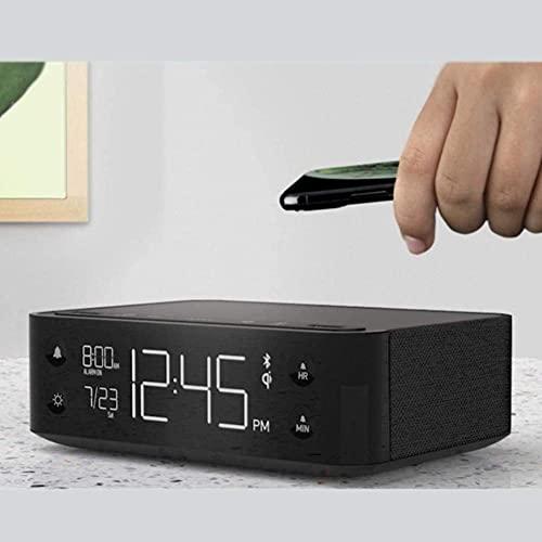 MingXinJia Relojes de Cabecera para el Hogar Cargador Inalámbrico Reloj Despertador con Altavoz Bluetooth, Mini Altavoz para el Hogar Reloj Despertador con Espejo Digital Regulable, Reloj de M