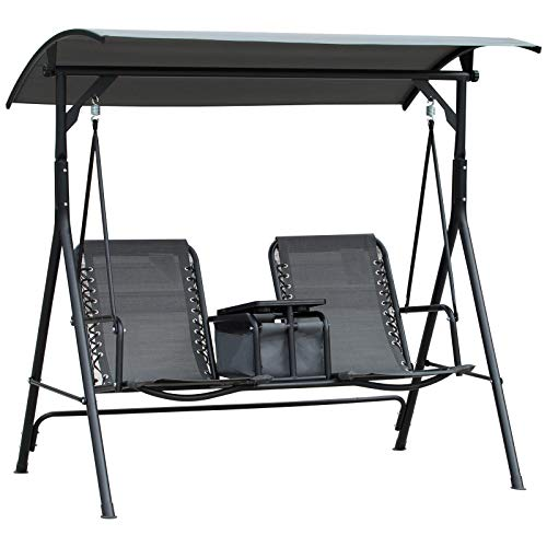 Outsunny 2-Seater Swing Chair Steel Frame Adjustable Canopy Sling Seats w/Middle Table Cup Holders Heavy Duty Outdoor Garden Patio Balcony Seating - Grey