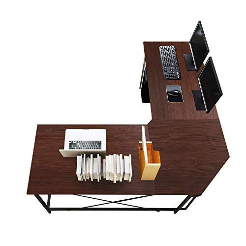 sogesfurniture Escritorio de Computadora en Forma de L, 150cm + 150cm Mesa de Ordenador Mesa de Estudio Estación de Trabajo, Mesa Esquinera para Casa, Oficina, Walnut LD-Z01WA-BH