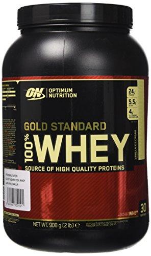 Optimum Nutrition Gold Standard 100% Whey Proteine del Siero di Latte in Polvere, Gusto Vaniglia - 908 gr