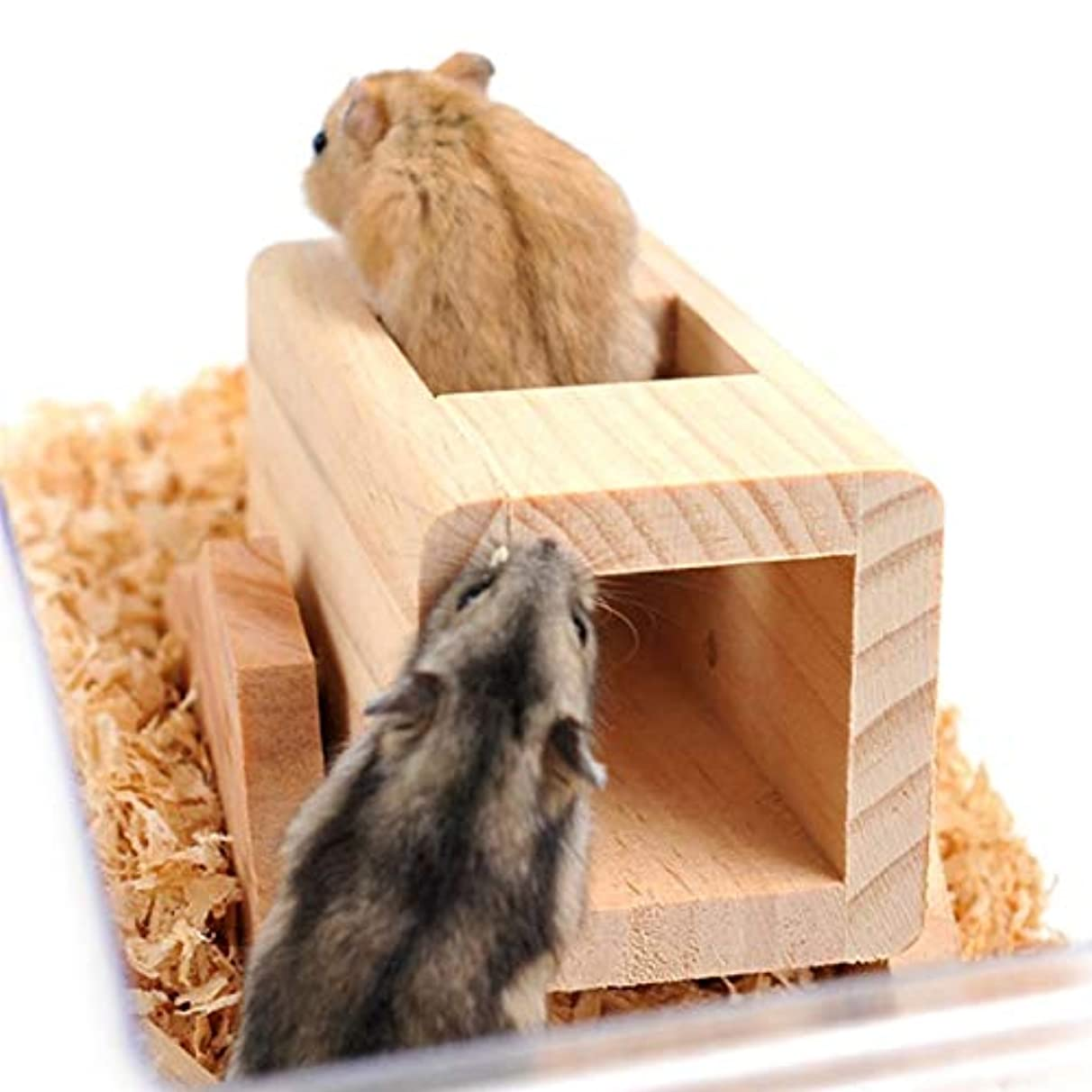 Hamster Tunnel - 1pc Wooden Hamster Square Seesaw Tube Tunnel Cage House Small Pet Toy Hamsters Funny Gift - Fabric Wooden Pangolin House Cage Pillow Marvel Hoverboard Accessory Ferret Pl