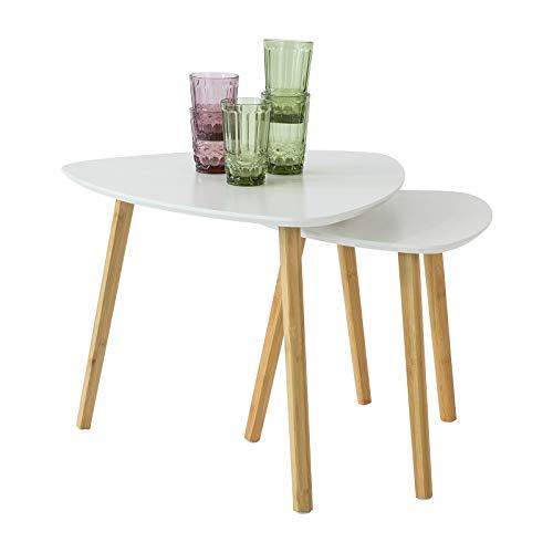 SoBuy FBT74-W 2er Set Beistelltisch mit Ablagen Couchtisch Sofatisch Kaffeetisch Satztisch Bambus Weiß/Natur
