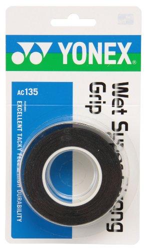 ヨネックス(YONEX) テニス バドミントン グリップテープ ウェットスーパーストロンググリップ (3本入り) AC135 ブラック