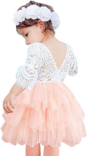 2Bunnies Girl Peony Lace Back A-Line Tiered Tutu Tulle Flower Girl Dress (Pink Bell Sleeve, 12 Months)