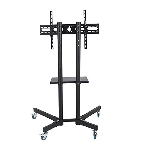Mobile TV Cart Floor Stand Rolling Movable Swivel Floor TV Stand for Most 32'-65' Flat Curved TVs Cart Trolley with Bracket,Castors and Tray Tilting Adjustable(without top shelf)