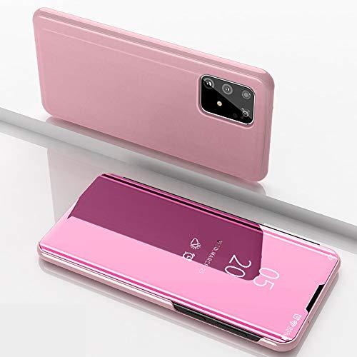 Nadoli Spiegel Hülle für Huawei P40 Pro,Clear View Mirror Effect Pu Leder Hart PC Zurück Buchstil Standfunktion Flip Schutzhülle Brieftasche für Huawei P40 Pro,Rose Gold