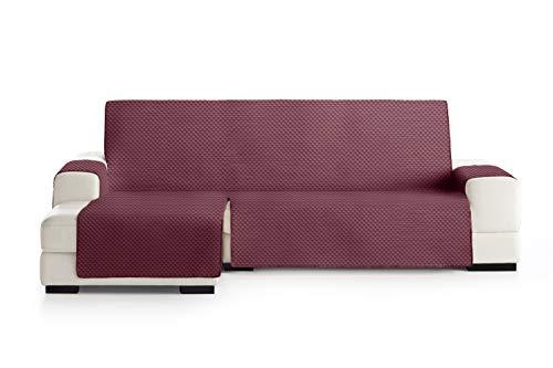 Eysa Oslo Funda, Poliéster, Burdeos/Gris, Chaise Longue 240cm. Válido para sofá Desde 250 a 300cm