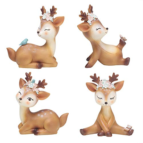 4 Pack Deer Figurines Cake Topper, Woodland Animal Doe Fawn Decor Party Favor Home Christmas Deer Toys Decoration for Baby Shower Birthday Wedding