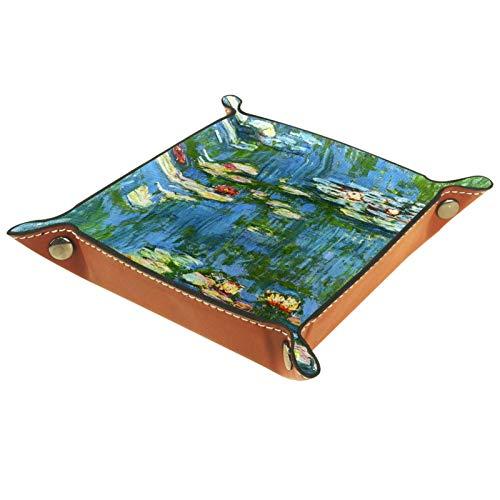 Petite boîte de rangement, plateau de valet pour homme,Peinture à l'huile impressionniste Piscine de lotus ,Organisateur de fourre-tout en cuir pour bijoux à clés