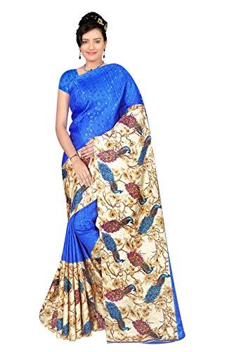 E Shop Online Women's Georgette Saree With Blouse Piece (PICHPATTA064_Blue)