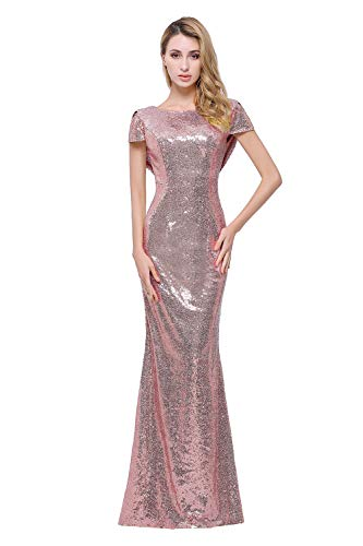 Sparkle Rose Gold Sequins Bridesmaid Dresses Modest Long Prom Evening Gowns Rose Gold 8 8 Rose Gold Buy Online In South Africa At Desertcart Co Za Productid 31595587