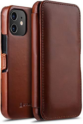 """StilGut Book Hülle kompatibel mit iPhone 12 Mini (5.4"""") Hülle aus Leder mit Clip-Verschluss, Klapphülle, Handyhülle, Lederhülle - Cognac Antik"""