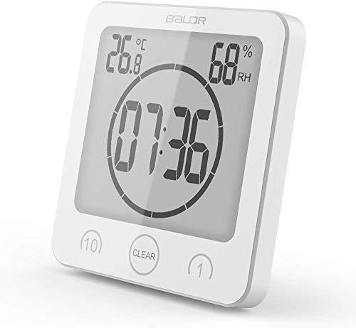 Suhey LCD Digital Duschuhr, Badezimmeruhr, Wasserdicht, Timer, Temperatur, Luftfeuchtigkeit, Wanduhr, Küchenuhr (Weiß-1)