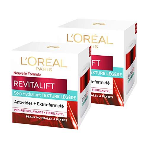 L'Oréal Paris - Revitalift - Soin Jour Hydratant Texture Légère - Anti-Rides & Extra-Fermeté - Anti-Âge - 50 mL - Lot de 2 ( 2 x 50 = 100 ML )