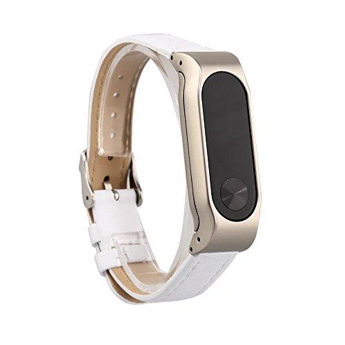 VAN-LUCKY Unisex verstellbar Leder Handgelenk Band Ersatz-Armband Strap für Xiaomi Mi Band 2 Smart Armband(NO Tracker)