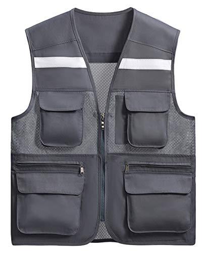 SK Studio Unisex Sicherheitswesten Hoch Sichtbarkeit Reflektierende Warnwesten mit Taschen und Reißverschluss für Auto/Motorrad Fahrradfahrer